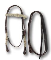 D.A. Brand Latigo Leather with Braided Rawhide Trim Bridle Horse Tack