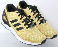 Adidas S76450 ZX Flux Yellow Woven Print Lace-Up Running Sneakers Men's US 11