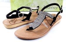 Womens J.Renee Stella Low Wedge T-Strap Sandals Rhinestone Suede Black Size 7.5