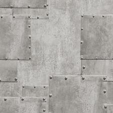 HT17191 Hit the Road Silver Rivet Metal Steel Plate Effect Wallpaper
