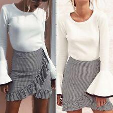 Women Stripe High Waist A-Line Irregular High-low Ruffle Package Hip Skirt Dress
