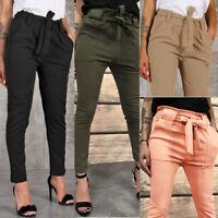 Women High Waist Harem Pants Women Bandage Elastic Waist Stripe Casual Pants