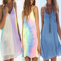 Womens Strappy Short Mini Dress Summer Beach Holiday Bikini Cover Up Sundress