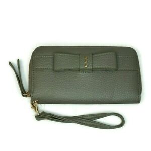 Sears Zip Around Wallet Wristlet Bow Accent Gray Faux Leather Pebbled Finish