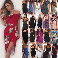 Women Maxi Boho Floral Summer Beach Long Dress Skirt Evening Cocktail Party NT