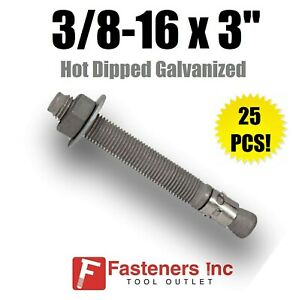 """(Qty 25) 3/8-16 x 3"""" Concrete Wedge Anchor Bolts Hot Dipped Galvanized"""