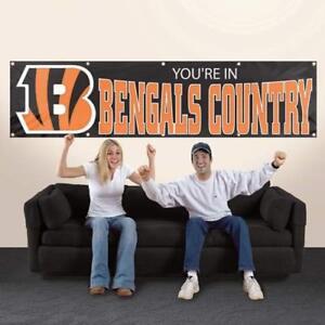 CINCINNATI BENGALS YOU'RE IN BENGALS COUNTRY 8' X 2' BANNER 8 FOOT NYLON SIGN