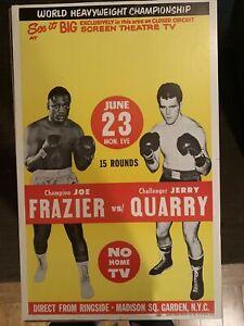Joe Frazier vs Jerry Quarry 1969 Heavyweight Title Closed Circuit Poster; 14x24