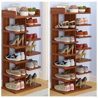 Home Decor Wood MDF Solid Shelf Shoe Rack Organizer Entryway Bedroom 6 7 Tiers