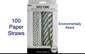 🆕 100 Silver Paper Straws 50 Striped 50 Polka Dot Birthday Party Wedding Shower