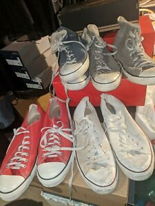 Converse Classic Low Top White and Red Lot 4 pairs High Top Grey Blue 12 DEAL