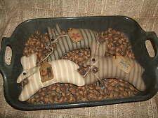 Primitive Folk Art Leaping Bunnies Rabbits Homespun Ticking Spring Bowl Fillers