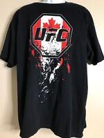 UFC Canada Men Size XXL Black MMA T Shirt Short Sleeve Graphic