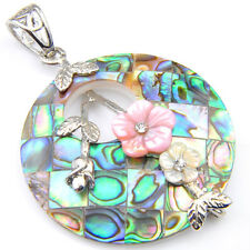 Handmade Genuine Abalone Shell Flower Carved Shell Gems Silver Necklace Pendants
