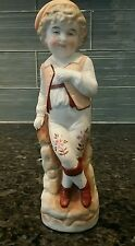 Vintage German Bisque Porcelain Boy with Sweet Face in Leiderhosen