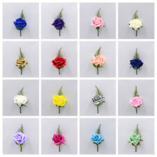 Artificial Wedding Flowers Single Rose Buttonhole in 40 Colours, Wedding Groom