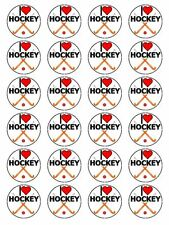 "x24 1.5"" I Love Hockey Birthday Cupcake Topper On Edible Rice Paper"
