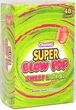 Charms Super Blow Pops Sweet And Sour Candy Lollipops Bulk 48 Ct Box Over 3 LB