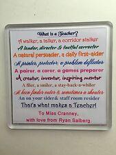 Personalised acrylic coaster. Teacher gift with poem. Teacher. TA. Dinner lady