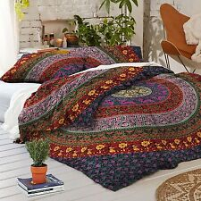 Indian Cotton Duvet Doona  2 pillow Cover Mandala Hippie Bohemian Queen Quilt
