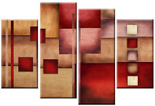 Large Abstract Canvas Art Multi Picture Red Beige Brown Rectangles Squares 100cm