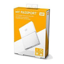 WD WESTERN DIGITAL MY PASSPORT 4TB EXTERNAL PORTABLE HARD DRIVE DISK 4 TB WHITE
