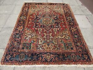Antique Worn Traditional Hand Made Vintage Oriental Wool Red Rug 232x174cm