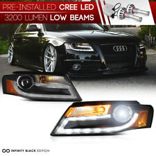 [LED LOW BEAM] 09-11 Audi A4 B8 Infinity Black Projector Headlight DRL LED Light