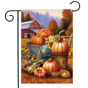 "Pumpkin Farm Fall Garden Flag Cart Autumn Barn 12.5"" x 18"" Briarwood Lane"
