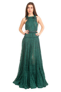 RRP €4800 LANVIN Lace A-Line Gown Size 36 S Silk Lined Bow Detais Made in France