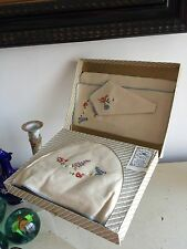 50s Breakfast Set Linen Tray Cloth Napkin Tea Cozy Boxed 1950s Retro Gift Tags