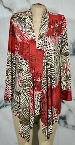 CARIBE Beige Multicolor Animal Print Stretchy Cardigan Large Long Sleeves USA