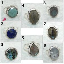 Labradorite Ablone Shell Lapis Amazonite Silver Plated Ring Gemstone Jewelry