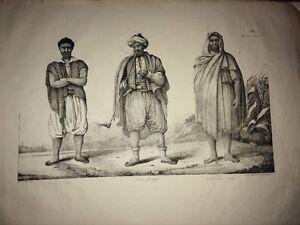 ALGÉRIE. JUIF D'ALGER et MAURE d'ALGER, KABYLE . Lithographie de 1830.
