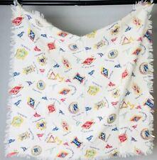 Vintage Sorority Fraternity Linen Scarf Collegiate Towel Wall Art Harvard Yale