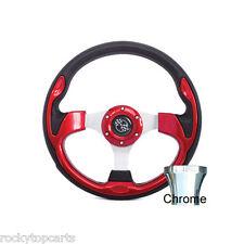 Club Car Precedent Golf Cart Red Rally 12.5 Steering Wheel & Chrome Adapter