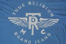 TRUE RELIGION Graphics T-Shirt XXL NWOT$ Signature Logo's! S/S Blue! TR Wings!