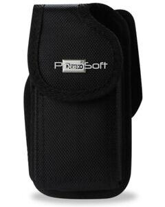 BIG Nylon BLACK Case Pouch Holster + Belt-Clip & Loop for LARGE PHONES (Black)
