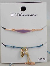 BCBG Generation Rose Gold Purple Blue Thread Charm Friendship Bracelet 2 PC Set