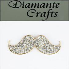 3D Moustache Gold Coloured Alloy Encrusted in Clear Diamantes Cabochon - 3BM2013