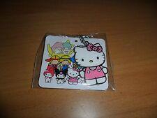 "Sanrio Hello Kitty pink diecut silver tone keychain key ring   1  1/4 by 1  3/4"""