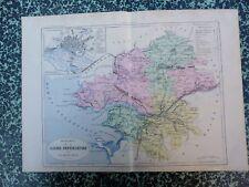 Carte géographique couleur 19°:LOIRE INFERIEURE avec plan de NANTES