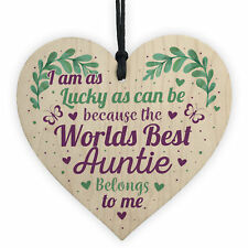 Birthday Gifts for Auntie Thank You Wooden Heart Plaque Shabby Chic Xmas Sign