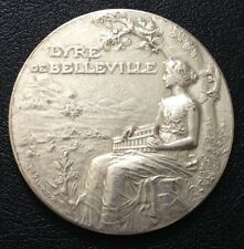 1859 France 50 MM Silvered Copper 25 Anniversary Lyre De Belleville Medal / M86