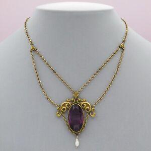 Vtg Antique Art Nouveau Amethyst Glass Festoon Large Pendant Necklace