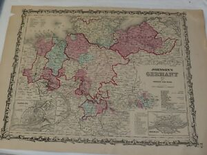 """1863 Johnson's GERMANY NO.1 Hand Colored 14 x 18"""""""