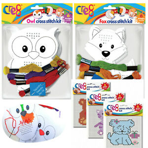 Cross Stitch Kit Kids Craft Sew DIY Cute Play Activity Embroidery Learning Drill