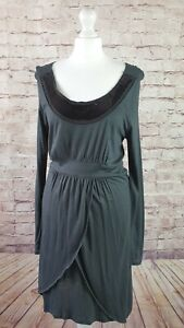 Noa Noa Dress Grey Stretch Wrapover Effect Sequin Neckline Wool Blend Size M