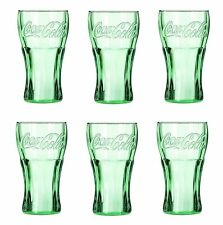 (6) Genuine Coca-Cola Green Glass Contour Glasses, 16 oz Libbey Lot