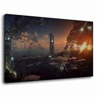 Sci Fi Fantasy Alien Planet Space City Futuristic Canvas Wall Art Picture Print